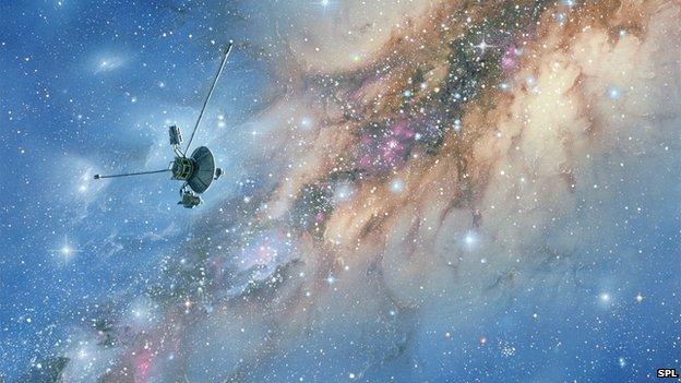 """""""Вояджер-1"""" за пределами Солнечной системы. Художественный рисунок."""