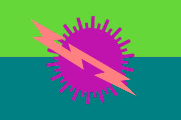 Розовая молния на фиолетовом символе солнца на фоне светло и темно-зеленого цвета